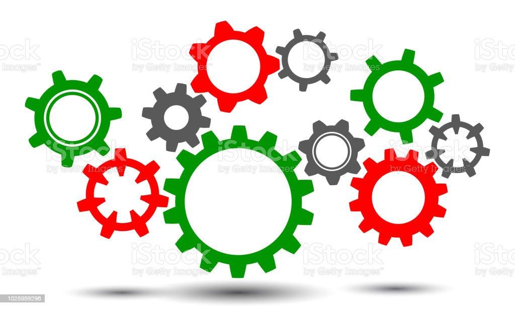 Concept Teamwork Generator Business Idea Group Gears Vector