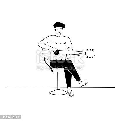 istock Concept the man playing guitar. 1264269939