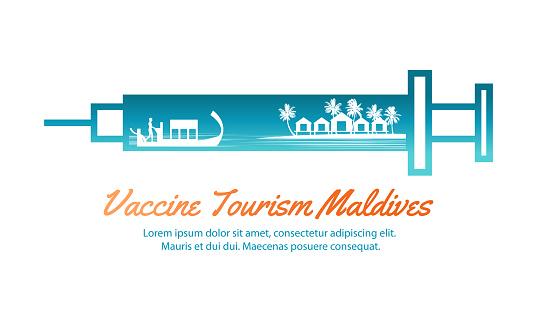 Concept travel art of vaccine tourism of Maldives