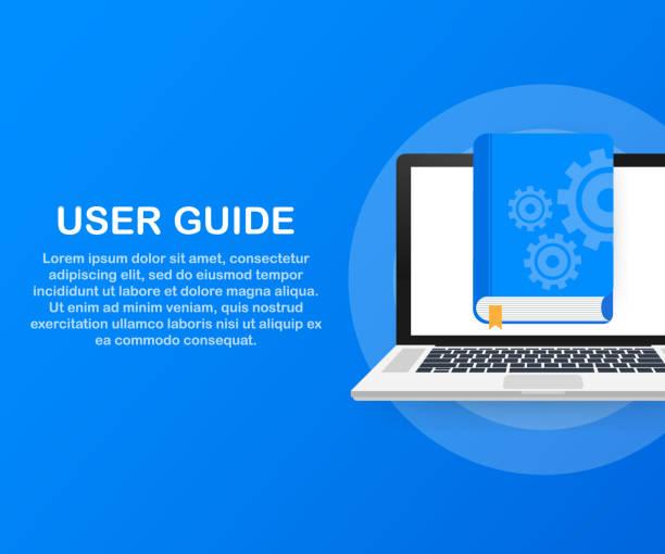Concept User guide book for web page, banner, social media. Vector illustration Concept User guide book for web page, banner, social media. Vector stock illustration guide stock illustrations