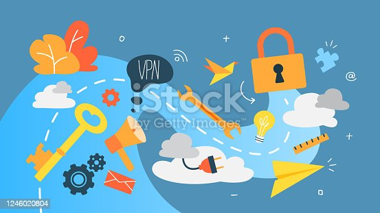 VPN concept. Using internet via virtual private network. Modern technology and virtual life. Idea of privacy in the internet. Isolated abstract vector illustration