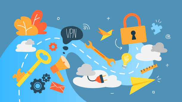 VPN concept. Using internet via virtual private network. Modern technology and virtual life. vector art illustration