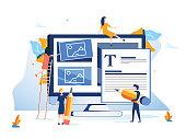Concept Ux User Experience Development Design Usability Improve software develop company. UI Interface experiment design improve Vector illustration project guide build Web app Computer, responsive.