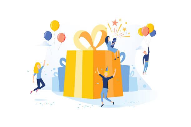bildbanksillustrationer, clip art samt tecknat material och ikoner med koncept vektor illustration med födelsedagskalas tema. födelsedagskalas firande med vänner. människor firar - årsdag