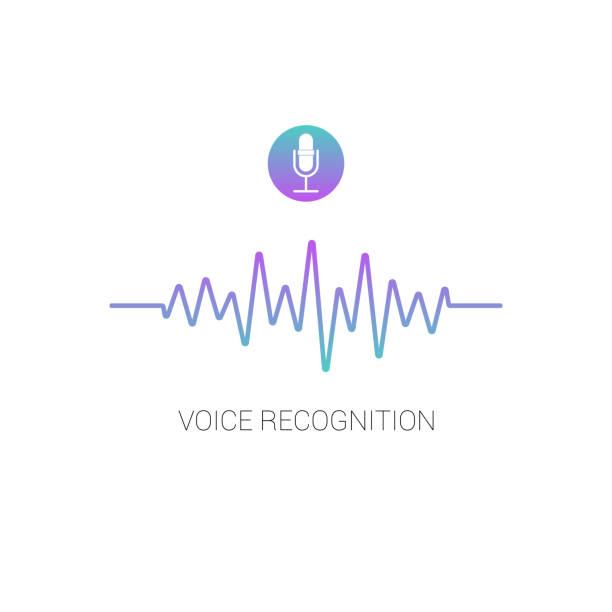 illustrazioni stock, clip art, cartoni animati e icone di tendenza di concept voice recognition. sound wave on white background. - voce