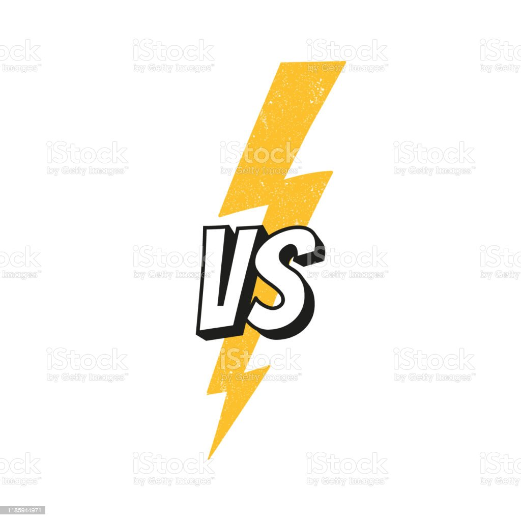 Concept Vs Fight Versus Sign With Lightning Bolt Isolated On White