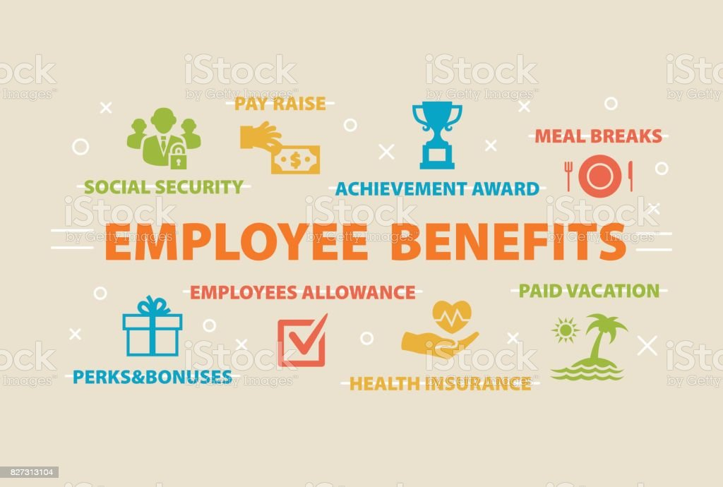 Conceito de benefícios dos empregados com ícones - ilustração de arte em vetor