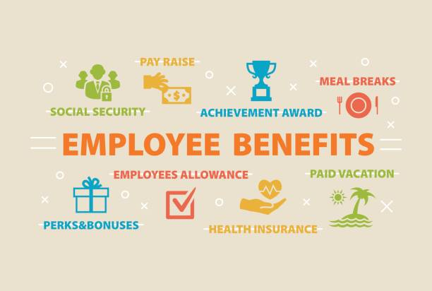 EMPLOYEE BENEFITS Concept with icons EMPLOYEE BENEFITS Concept with icons and signs bonus march stock illustrations