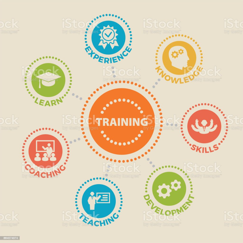 Trainingskonzept mit Symbolen – Vektorgrafik