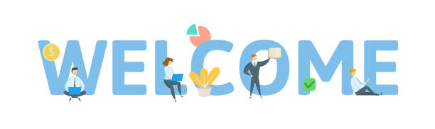 welcome. concept with keywords, letters, and icons. flat vector illustration. isolated on white background. - tablica powitalna stock illustrations