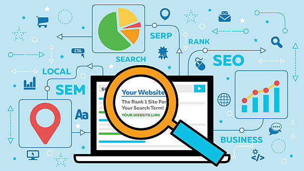 SEO Concept with Laptop and Icons A nice search engine optimization illustration with a laptop and magnifying glass looking at your website in the rank 1 position. seo stock illustrations