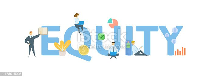 EQUITY. Concept with people, letters and icons. Colored flat vector illustration. Isolated on white background.