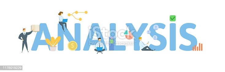 ANALYSIS. Concept with people, letters and icons. Colored flat vector illustration. Isolated on white background.