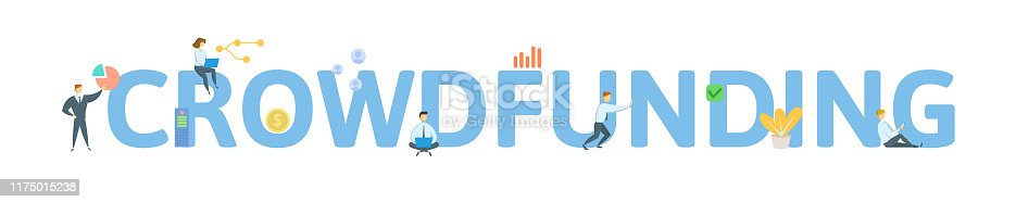 CROWDFUNDING. Concept with people, letters and icons. Colored flat vector illustration. Isolated on white background.
