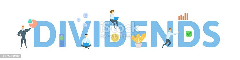 DIVIDENDS. Concept with people, letters and icons. Colored flat vector illustration. Isolated on white background.