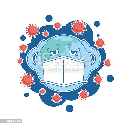 COVID-19 concept,character cartoon world wearing protective mask to protect corona virus infect protection around the world,vector illustration. EPS 10.
