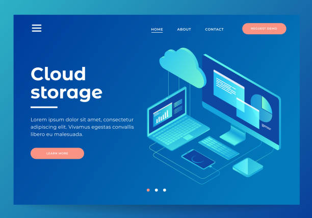 Concepts Cloud storage. Header for website with Computer, laptop, smartphone on blue background. vector art illustration