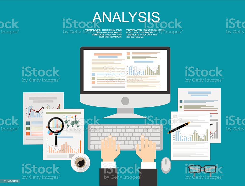 Concepts for business analysis and planning, financial strategy vector art illustration