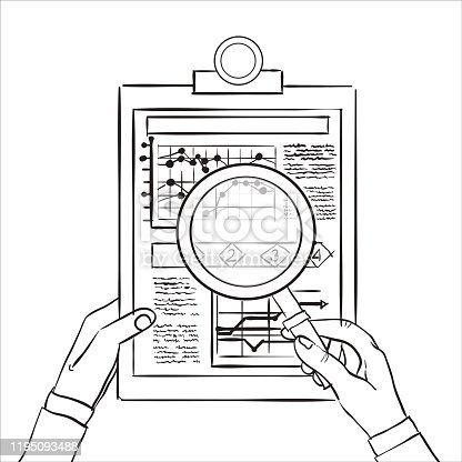 istock Concepts for business planning and accounting, analysis, audit, project management, marketing with magnifying glass., research in flat design style.Sketch 1195093488