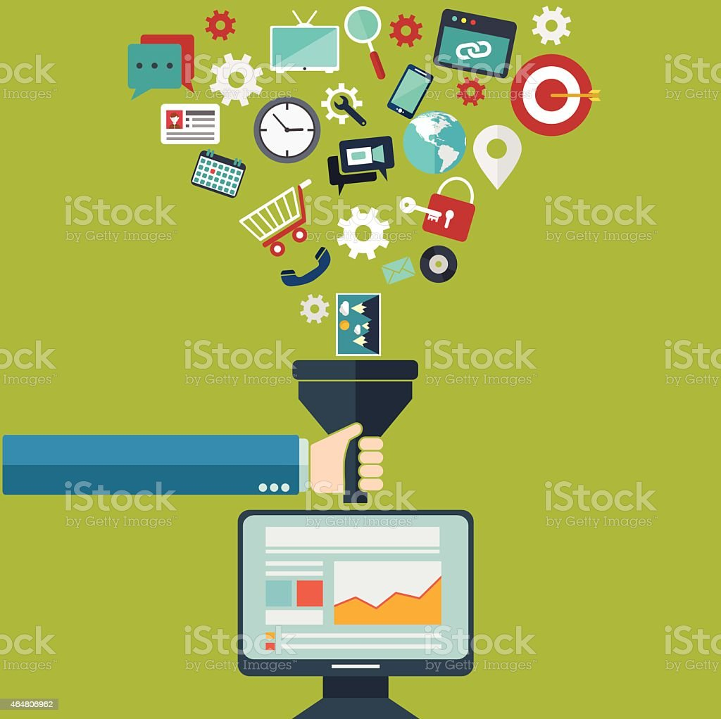 Concepts for creative process, big data filter, data tunnel, analysis vector art illustration