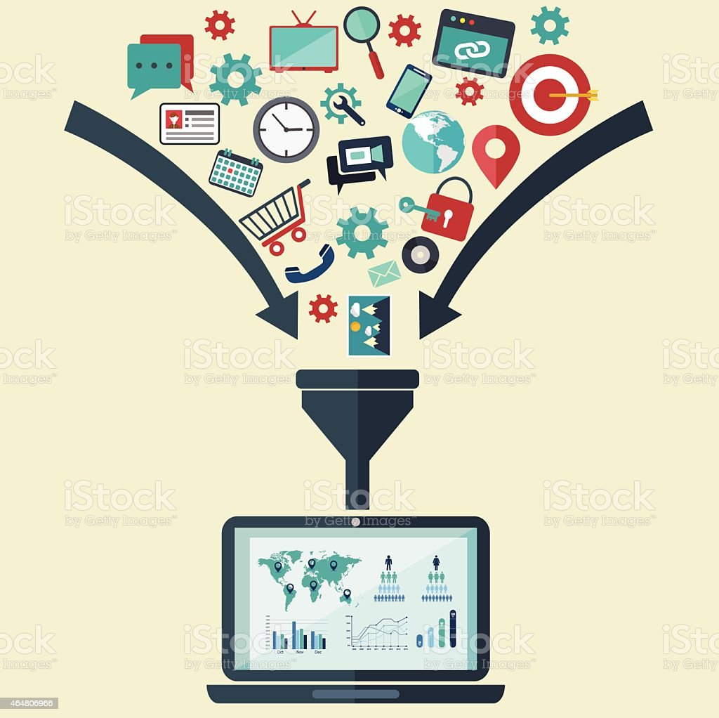 Concepts for creative process, big data filter, data tunnel, analysis royalty-free concepts for creative process big data filter data tunnel analysis stock illustration - download image now