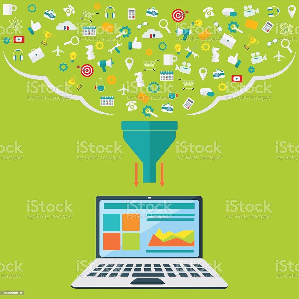 Koncepcje dla procesu tworzenia, Duży filtr danych, dane Tunel, analizy – artystyczna grafika wektorowa