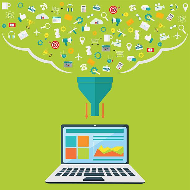 Concepts for creative process, big data filter, data tunnel, analysisvectorkunst illustratie