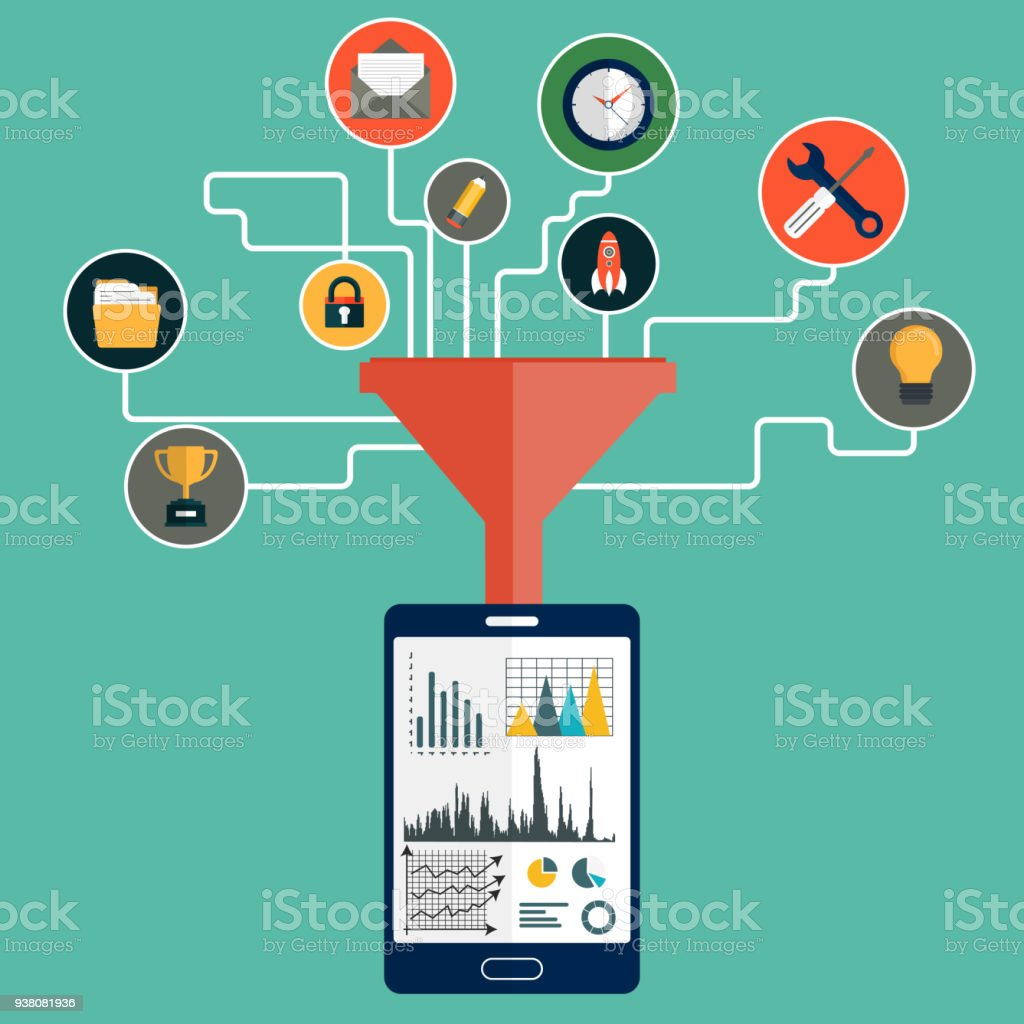 Concepts for creative process, big data filter, data tunnel and analysis. Flat vector illustration vector art illustration