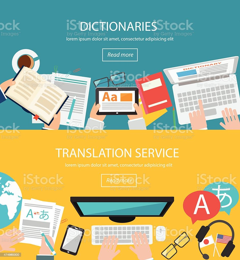 Concepts for foreign language translation vector art illustration