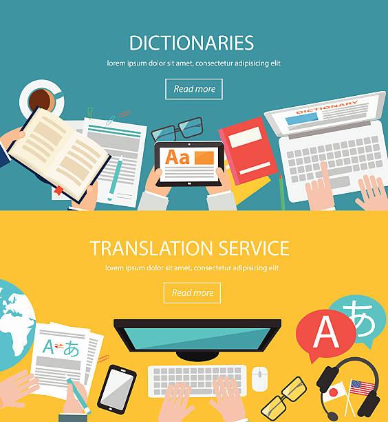 Conceptos para lengua extranjera traducción - ilustración de arte vectorial