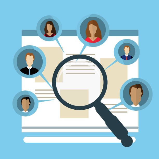 Concepts for Searching people, employees, candidates, team members. Flat design illustration vector art illustration