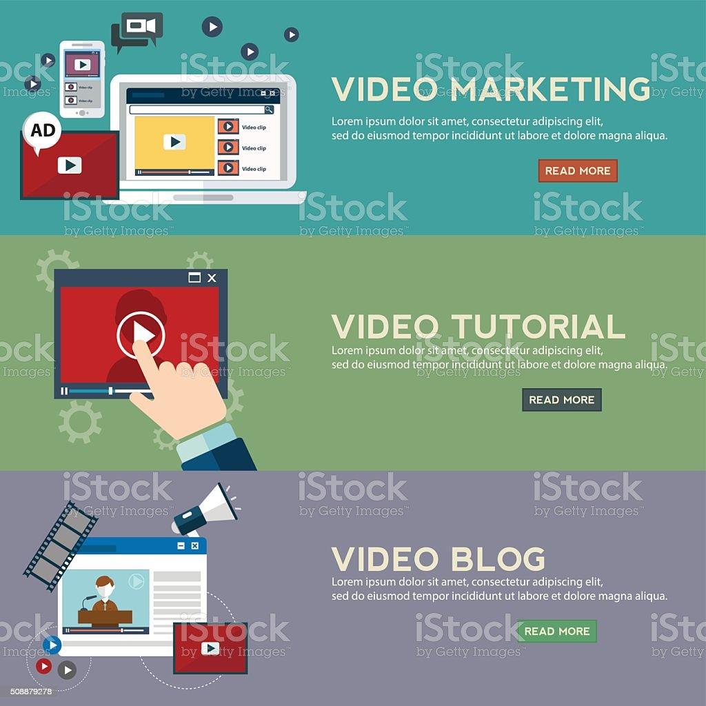 Concepts for video marketing, digital marketing, advertising vector art illustration