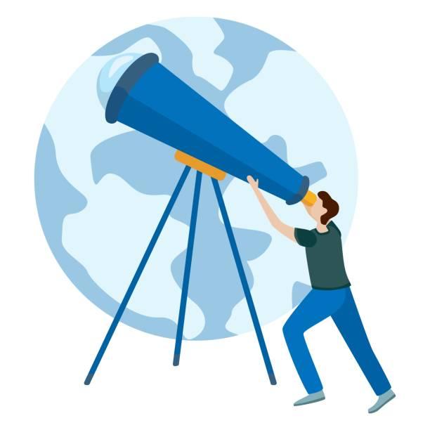 konzepte für website und anwendungen. astronomen schauen durchs teleskop. - sternwarte stock-grafiken, -clipart, -cartoons und -symbole