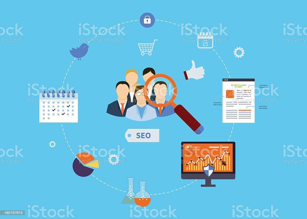 コンセプト、ウェブサイトの SEO の最適化、プロジェクト管理と web 分析 ベクターアートイラスト