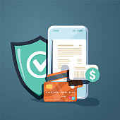 Concepts mobile payments, personal data protection. Header for website with smartphone