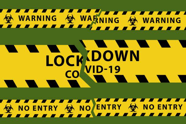stockillustraties, clipart, cartoons en iconen met concepten van open lockdown na coronavirus pandemie uitbraak. de vectorillustratie van de voorraad van gescheurde gele band in vlak. - tears corona