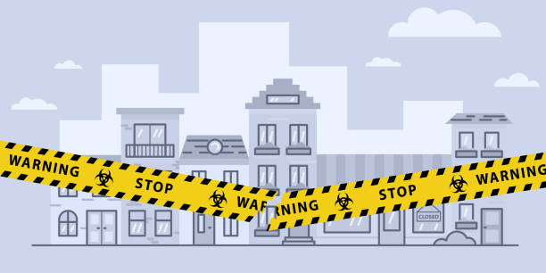 stockillustraties, clipart, cartoons en iconen met concepten van open lockdown na coronavirus pandemie uitbraak. gescheurde gele band over stad. afbeelding van de voorraadvector - tears corona