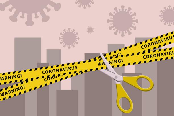 stockillustraties, clipart, cartoons en iconen met concepten van open lockdown na pandemische uitbraak. gescheurde gele band met schaar over stad. afbeelding van de voorraadvector - tears corona
