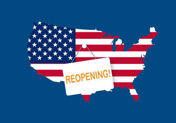stockillustraties, clipart, cartoons en iconen met concepten van heropening amerika na quarantaine het land - lockdown
