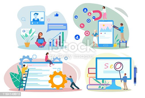SEO SEM SMM SMO concepts. People using devices for advertising and optimizing websites and social network profiles. Using devices for increasing traffic. Flat modern vector illustration