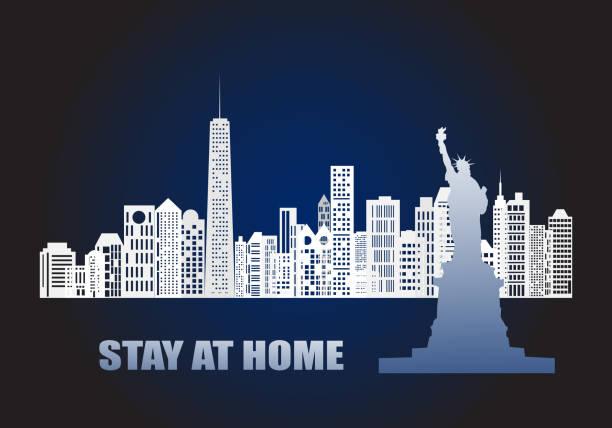 コンセプトは、居心地の良い19パンデミックの流行から自宅にとどまります。 - corona newyork点のイラスト素材/クリップアート素材/マンガ素材/アイコン素材