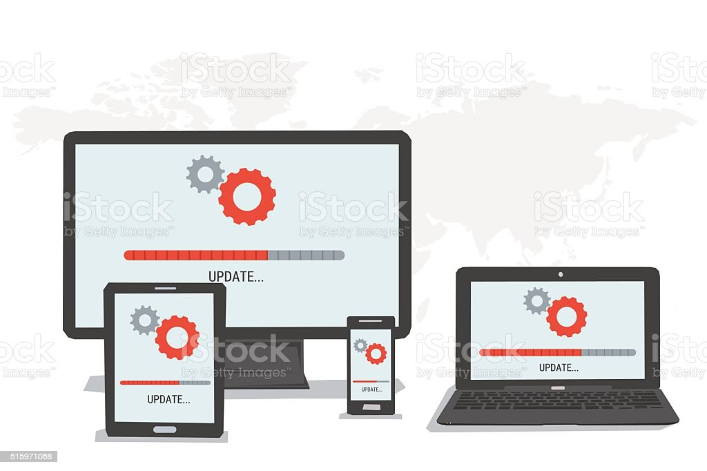 Concepts - UPDATE on different devices vector art illustration