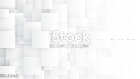 Conceptual 3D Vector Different Size Tetragons Technologic White Abstract Background. Science Technology Square Blocks Structure Light Wallpaper. Tech Clear Blank Subtle Textured Backdrop