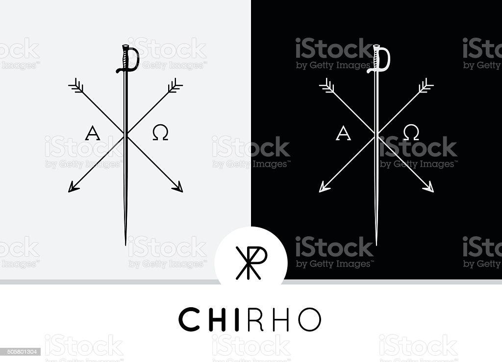 Conceptual Abstract Chi-Rho Symbol design with sword & arrows