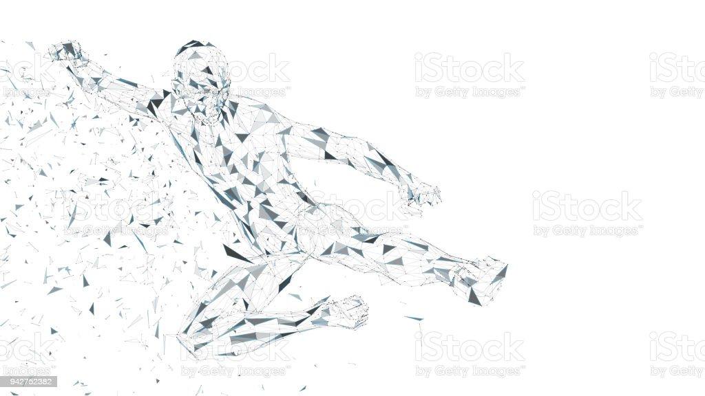 Hombre abstracto conceptual saltando en patada de kung fu. Conectar líneas, puntos, triángulos, partículas. Concepto de inteligencia artificial. Alta tecnología vector, fondo digital. Ilustración de vector de render 3D - ilustración de arte vectorial
