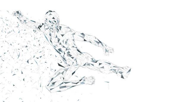 ilustraciones, imágenes clip art, dibujos animados e iconos de stock de hombre abstracto conceptual saltando en patada de kung fu. conectar líneas, puntos, triángulos, partículas. concepto de inteligencia artificial. alta tecnología vector, fondo digital. ilustración de vector de render 3d - boxeo deporte