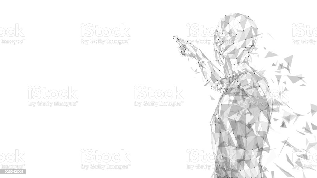 Conceptual abstract man touching or pointing to something. Connected lines, dots, triangles. Artificial intelligence concept. High technology vector digital background. 3D render vector illustration Conceptual abstract man touching or pointing to something. Connected lines, dots, triangles, particles on white background. Artificial intelligence concept. High technology vector digital background. 3D render vector illustration Innovation stock vector