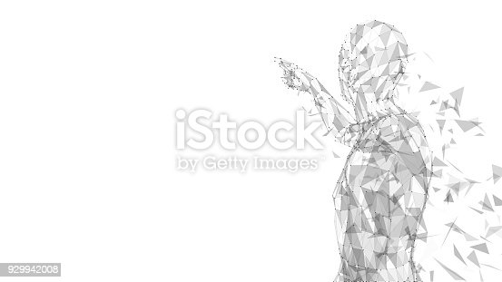 Conceptual abstract man touching or pointing to something. Connected lines, dots, triangles, particles on white background. Artificial intelligence concept. High technology vector digital background. 3D render vector illustration
