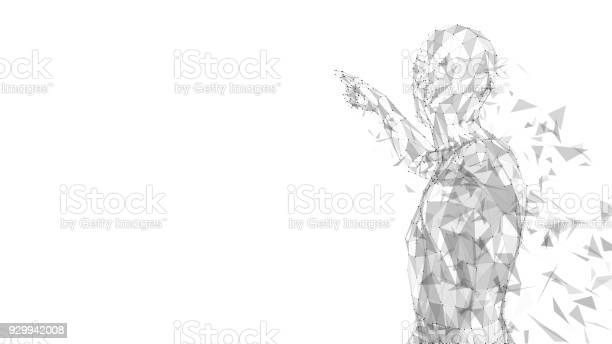 Conceptual Abstract Man Touching Or Pointing To Something Connected Lines Dots Triangles Artificial Intelligence Concept High Technology Vector Digital Background 3d Render Vector Illustration Stock Illustration - Download Image Now