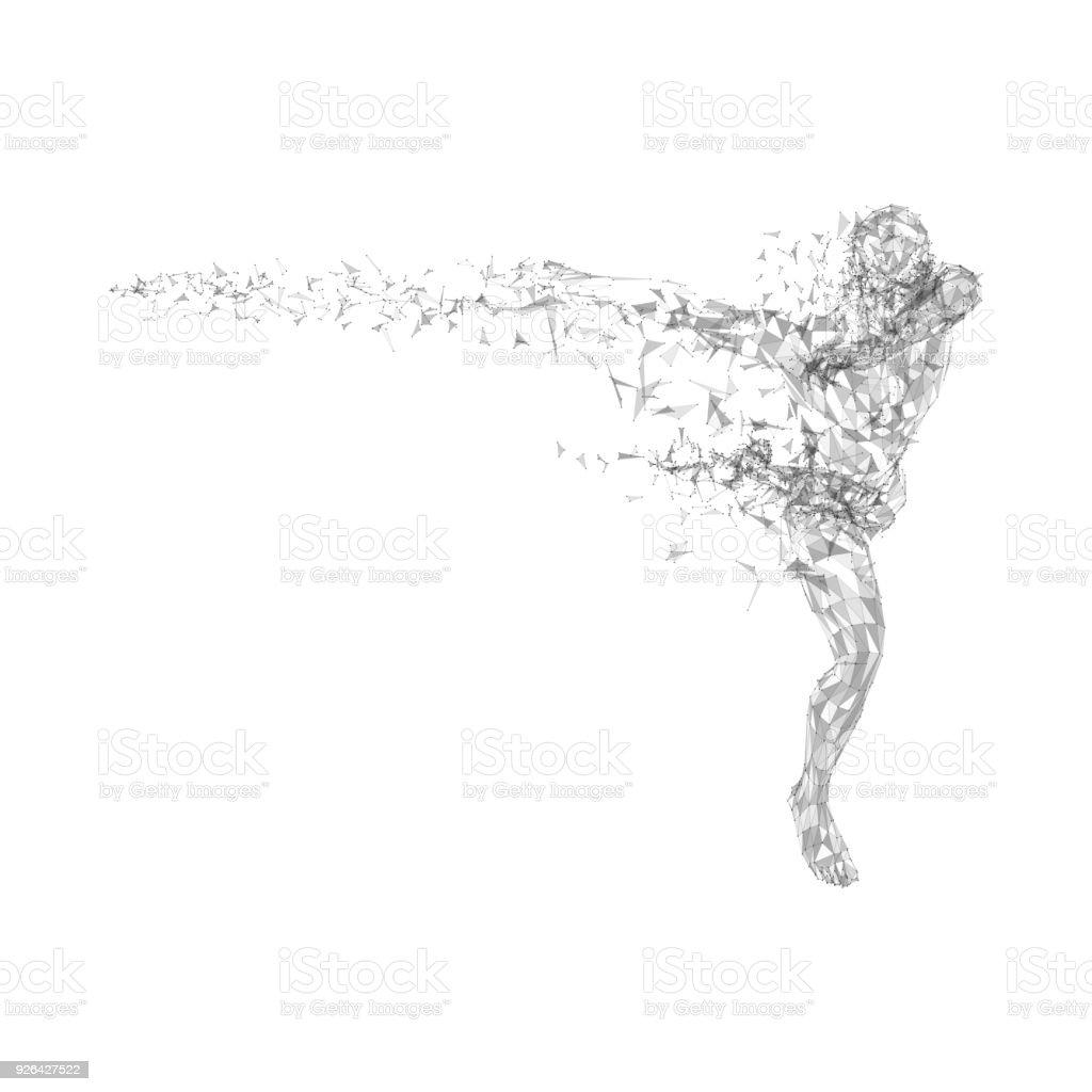 Conceptuel homme abstrait en cours d'exécution. Connecté de lignes, des points, des triangles, des particules sur fond blanc. Concept scientifique ou technologique. Haute technologie vecteur numérique fond pour bannière d'affaires - Illustration vectorielle